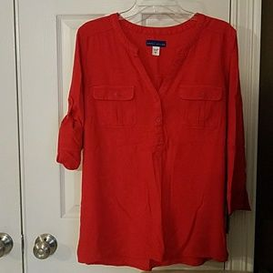 Red v neck top, 100% rayon